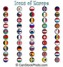iconen, van, europa, compleet, verzameling