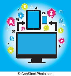 iconen, van, sociaal, netwerk