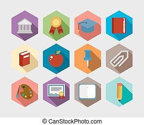 iconen, vastgesteld ontwerp, back, plat, school