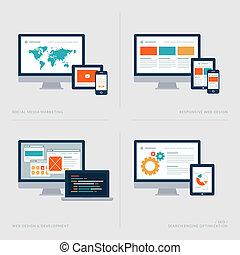 iconen, vastgesteld ontwerp, plat, concept