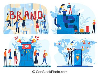 iconen, vector, gebouw, collectief, illustraties, product, plat, proces, merk, makend, ontwikkelaar, spotprent, handel team, mensen, workflow, het brandmerken