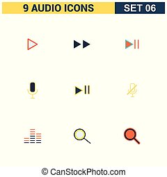 iconen, vector, set, audio