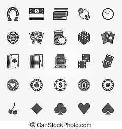 iconen, vector, set, casino