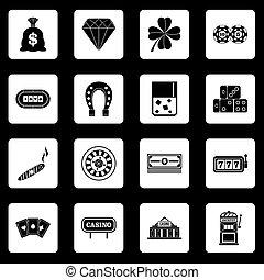 iconen, vector, set, pleinen, casino