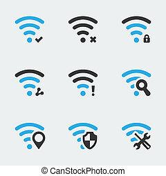iconen, vector, set, verwant, wifi