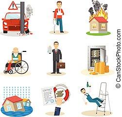 iconen, verantwoordelijkheid, verzekering
