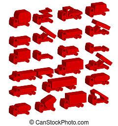 iconen, vervoer, -, symbols., set, vector