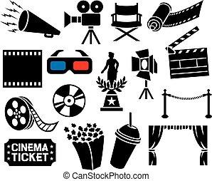 iconen, verzameling, bioscoop