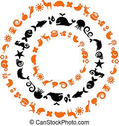 iconen, -, verzameling, planeet, ecologisch, dier