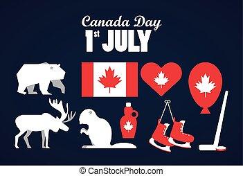 iconen, vlag, viering, poster, juli, dag, eerst, set, canada