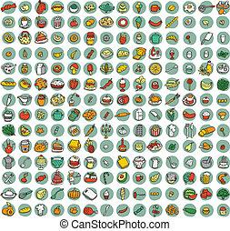 iconen, voedingsmiddelen, 196, doodled, verzameling, keuken