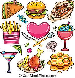 iconen, voedingsmiddelen, 2, set, klaar-te-voedsel