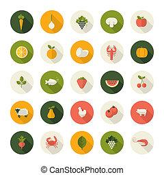 iconen, voedingsmiddelen, vastgesteld ontwerp, plat