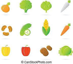 iconen, voedingsmiddelen, vrijstaand, verzameling, groente, witte