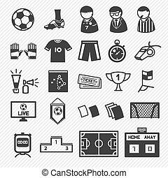 iconen, voetbal, set