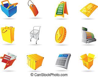iconen, voor, detailhandel