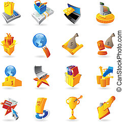 iconen, voor, detailhandel, handel