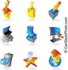 iconen, voor, industrie, en, ecologie