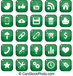iconen, voor, mobiele telefoon