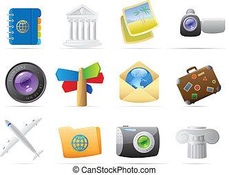 iconen, voor, reizen
