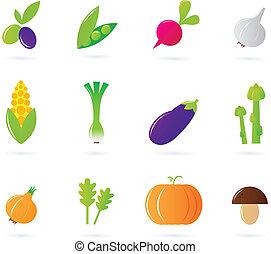 iconen, vrijstaand, verzameling, groente, fris, witte