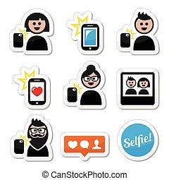 iconen, vrouw, man, selfie, boeiend