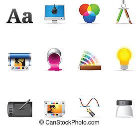 iconen, web, bezig met afdrukken van, desi, -, grafisch, &