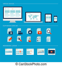 iconen, web, vastgesteld ontwerp, plat