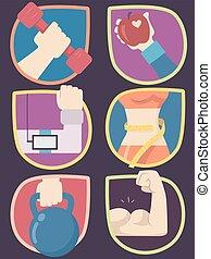 iconen, werken, illustratie, uit