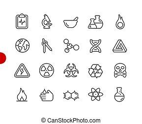 //, iconen, wetenschap, punt, reeks, rood