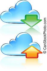 iconen, wolk, hosting
