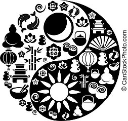 iconen, yang, symbool, zen, yin, gemaakt