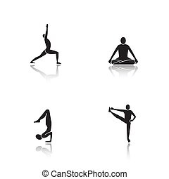 iconen, yoga, black , asanas, schaduw, set, druppel