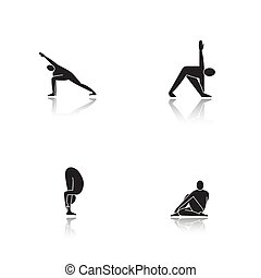 iconen, yoga, druppel, asanas, black , set, schaduw