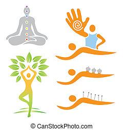 iconen, yoga, masseren, alternatief, medi