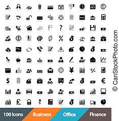 iconen, zakelijk, kantoor, &, financiën