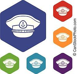 iconen, zeeman, vector, pet, hexahedron