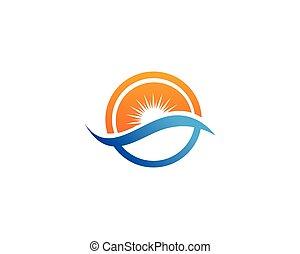 iconen, zon, app, symbolen, mal, golven, logo