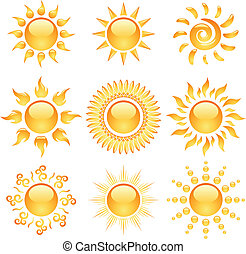 iconen, zon, gele, vrijstaand, verzameling, glanzend, white.