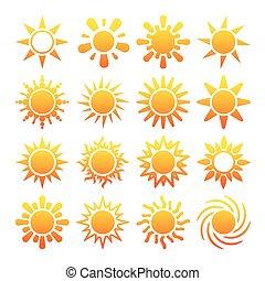 iconen, zon, vrijstaand, gele, vector, achtergrond, witte