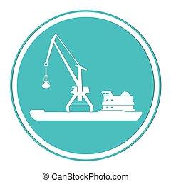 icon.eps, bateau, vecteur, portail, crane.