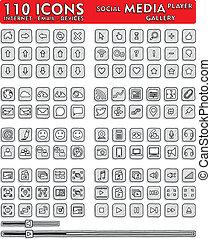iconerne, 110, hand-drawn, sociale, -, medier