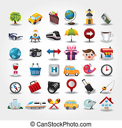 iconerne, collection., rejse, illustration, vektor, symbol