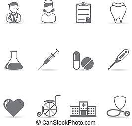 iconerne, farve, -, medicinsk, singel