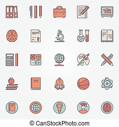 iconerne, farverig, undervisning