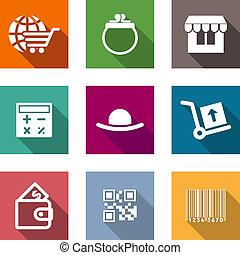 iconerne, firma, indkøb, sæt, lejlighed