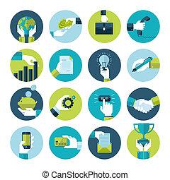 iconerne, firma, konstruktion, lejlighed, hånd