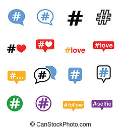 iconerne, hashtag, sociale, sæt, medier