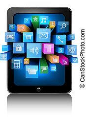 iconerne, ind, en, tablet., vektor