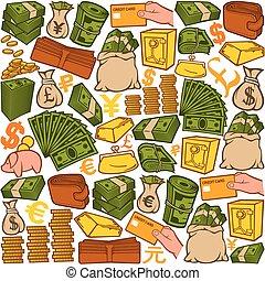 iconerne, mønster, penge, seamless